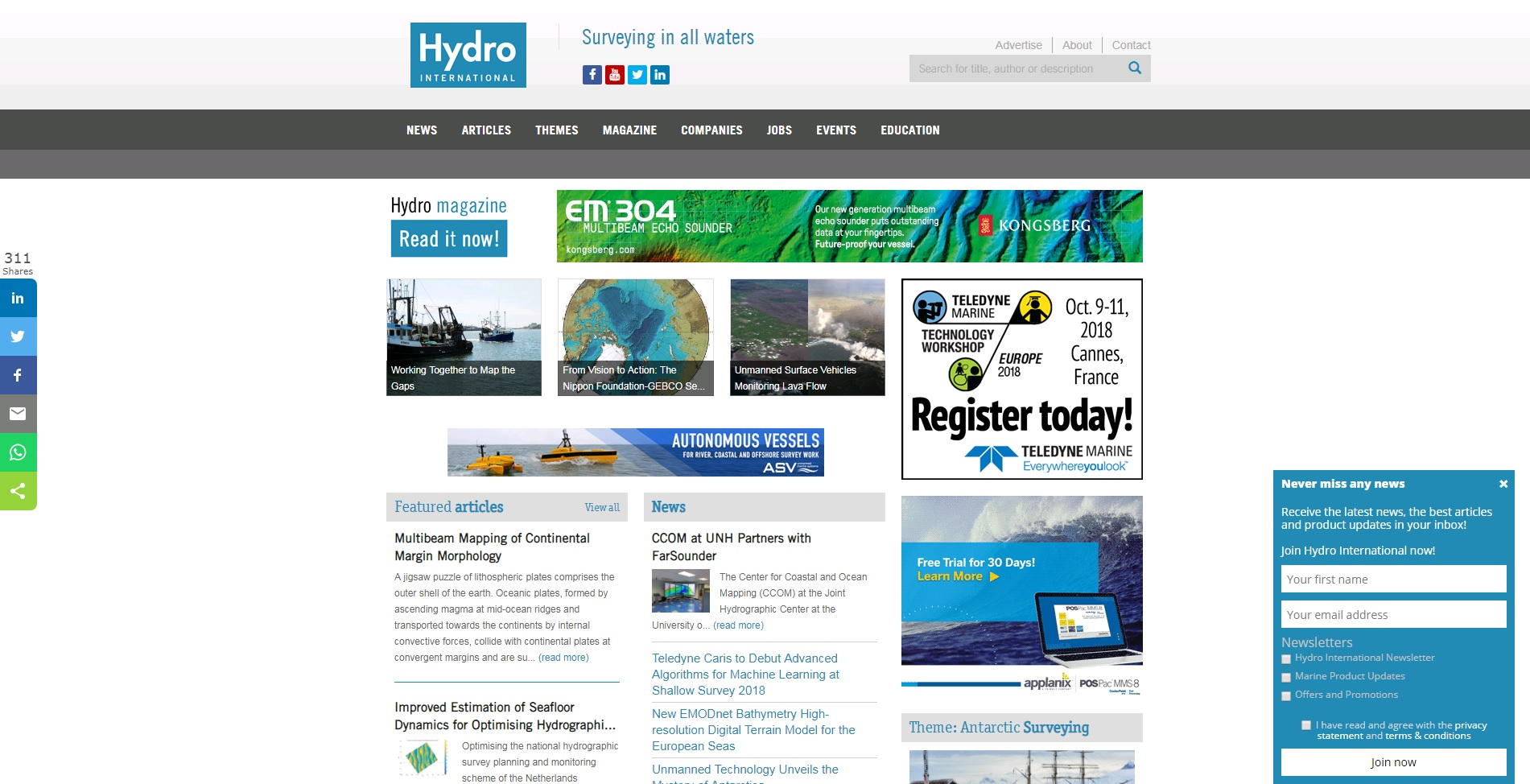 Hydro International homepage slide-in pop-up